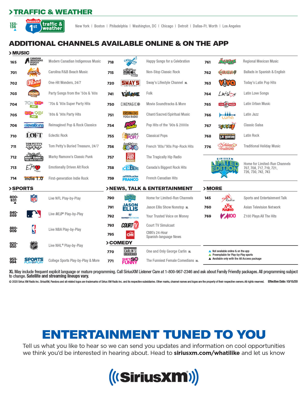 SiriusXM Channel Guide